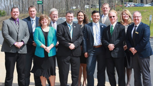Individuals (from left to right) include: Brian Thompson, Principal at Berlin Brothersvalley; Tim Janocko, Principal at Clearfield; Dr. Susan Spaid, School Counselor at Clearfield; Terry Struble, Superintendent at Clearfield; Mike Vuckovich, Director of Education at Greater Johnstown; Amy Arcurio, Assistant Superintendent at Greater Johnstown; Wil Del Pilar, Deputy Secretary for the Pennsylvania Department of Education; Rob Heinrich Principal at Greater Johnstown; Dr. Walter Asonevich, President of Pennsylvania Highlands; Dr. Melissa Murray, Dean of School Partnerships at Pennsylvania Highlands; Joe Slifko, Accelerated College Education Faculty Coordinator at Pennsylvania Highlands.